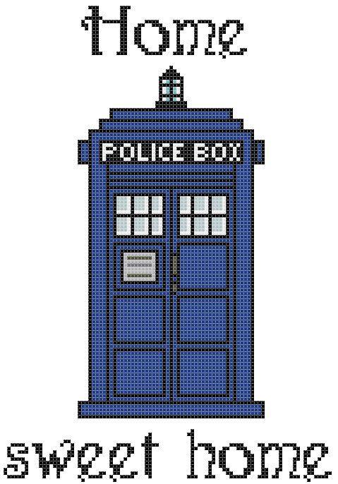 Home Sweet Home TARDIS Cross Stitch Pattern PDF par NERDpillo