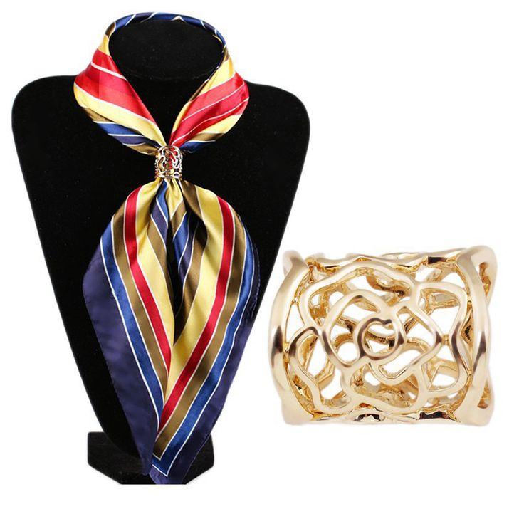 エレガントなデザイン中空ゴールド&シルバーメッキブローチショールスカーフスカーフバックルリングクリップ用女性ギフト