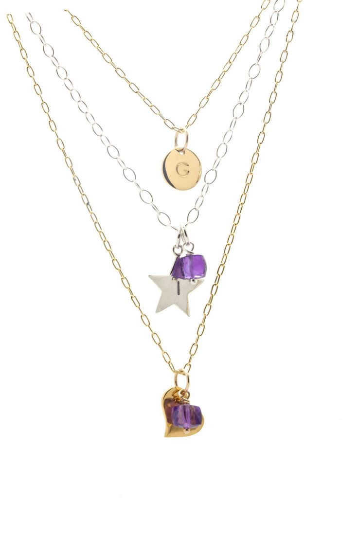 February Birthstone Necklace, Amethyst Necklace, Personalized Gold Necklace, Birthstone Gold Necklace, Dainty Heart Initial Necklace, Gift by ILgemstones on Etsy