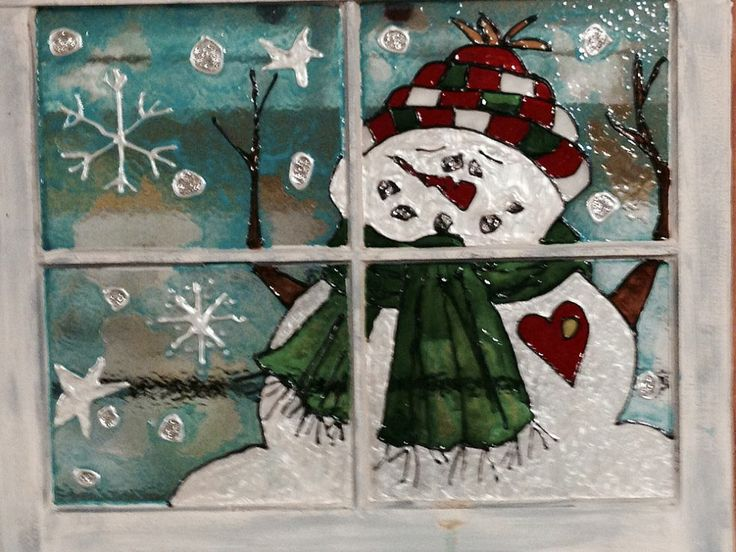 Snowman painted in stain glass paint on old window
