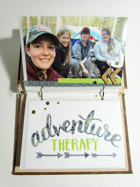 Heather Ulmer mini album from recycled book using the Adventure collection