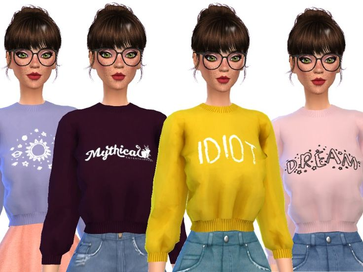 12 snazzy tumblr themed crop tops! Found in TSR Category 'Sims 4 Female Everyday'