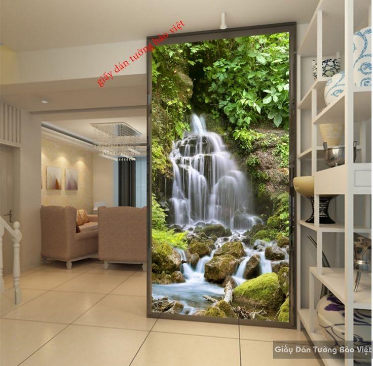 Tranh dán tường thác nước 3D đẹp K16235555 | Giấy dán tường Bảo Việt