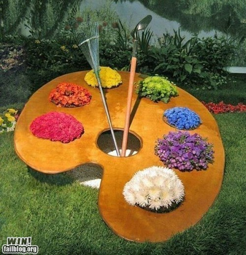 The Painter's Planter: Gardens Ideas, Yard Art, Cute Ideas, Gardens Art, Gardens Design, Paintings Palettes, Interiors Gardens, Gardens Plants, Yard Ideas
