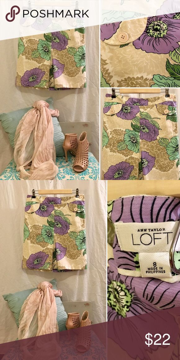 ✂️🎉HP🎉EUC   LOFT floral A-line skirt Pretty violet and soft green floral pattern with a small accordion slot on the front side and button details under the waistline. Very slimming & flattering fit! Great for Fall with some boots and a cardigan 🍁 Only worn once or twice - like new condition - zero flaws!!           🦋NOTE: shoes pictured are also for sale in my closet :) LOFT Skirts Midi