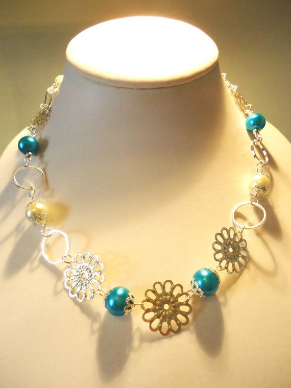 Necklace Turquoise Glass Pearl and White by JulieDeeleyJewellery, £4.99