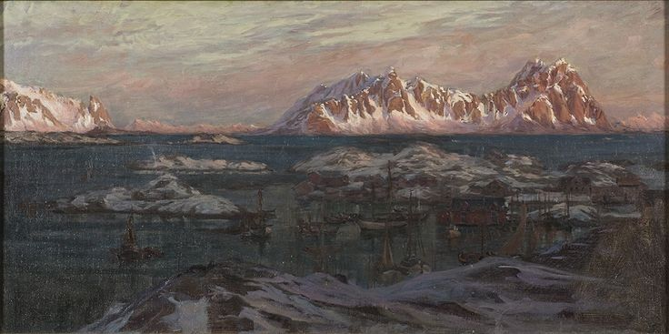 Fishing port and sunlit mountains by Anna Boberg. Nationalmuseum Sweden, CC BY-SA