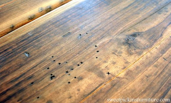 Sweet Pickins - using steel wool to stain wood, making a farmhouse tabletop, howard's feed and wax