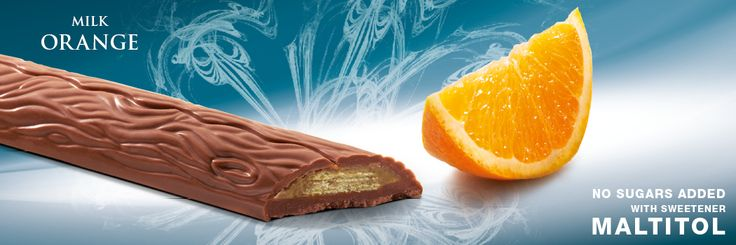 Mini bar with sweetener Maltitol, milk chocolate with a crunchy wafer and orange filling. Cavalier the pioneer in no sugars added chocolate.