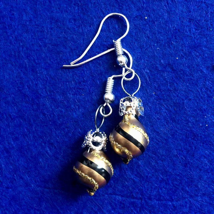 Aretes esfera  Escarcha dorado 006