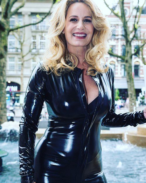 Claudia Schoemacher in very sexy #pvc #catsuit