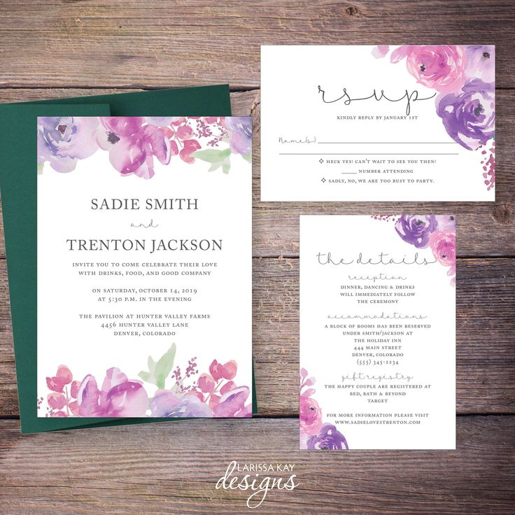 wedding invitation wording vegetarian option%0A Watercolor Floral Wedding Invitation Suite  Flowers  Modern  Invites   Printable Digital File DiY