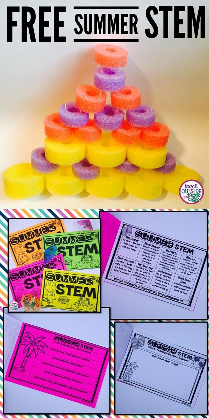 Pool noodle towers, bug catchers, and forts, oh my! FREE summer STEM activities and challenges for elementary engineers! | STEM projects