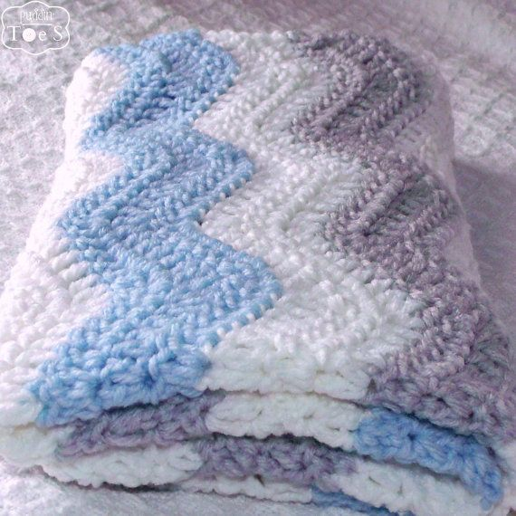 Gray Blue Chevron Blanket Blue Gray Nursery Crochet by puddintoes, $60.00