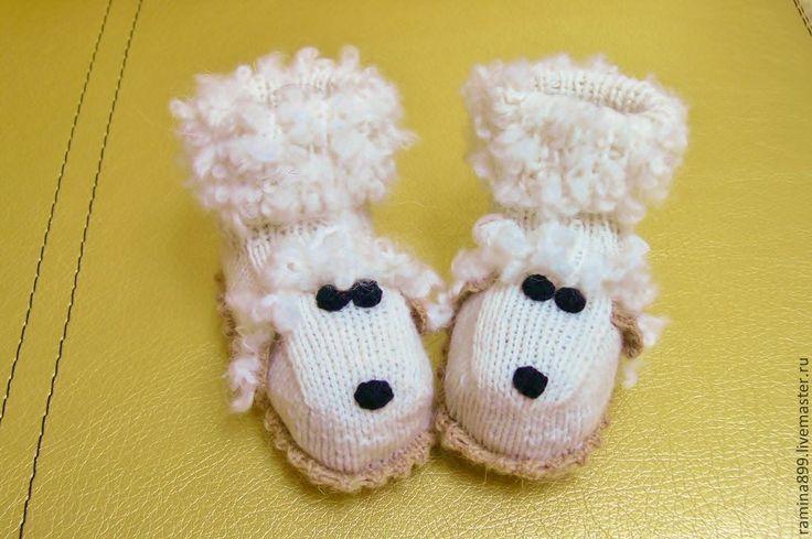 Купить Пинетки вязаные Овечки белые детские носочки - белый, однотонный, пинетки для новорожденных