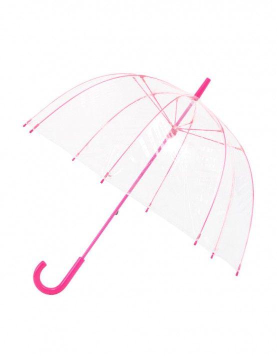 Krásný minimalistický růžový deštník - pro deštivé dny, které mohou být i tak krásné.                                                     ...Růžový průhledný