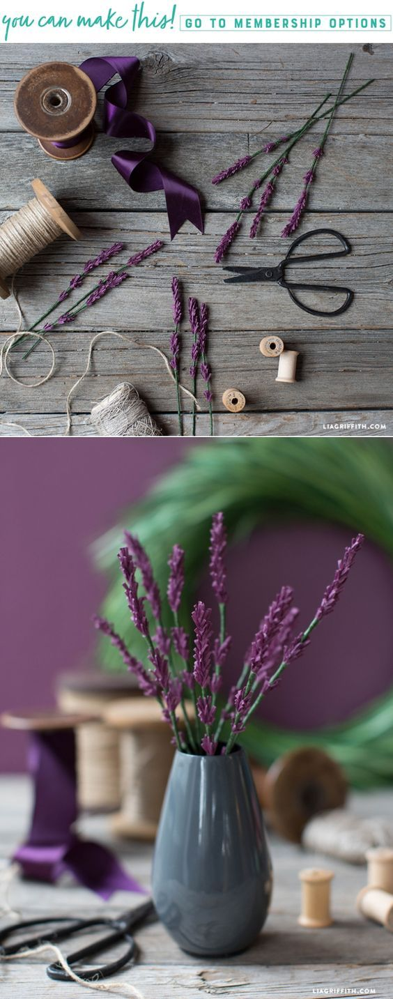 Learn How to Make Some Simple Crepe Paper Lavender Sprigs - Lia Griffith - www.liagriffith.com #crepepaper #crepepaperflowers #crepepaperrevival #paper #paperart #paperflowers #paperflowers #diyinspiration #diyprojects #diyproject #madewithlia