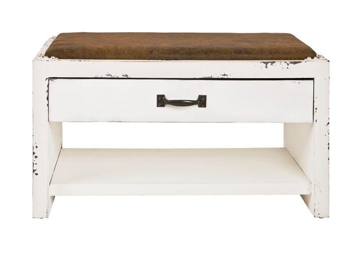 Die Sitzbank aus MDF Gestell in Vintage-Look. Mit einer Schublade und einer Ablage für Ihre Lieblingsschuhe. Sie können sich bequem auf die Bank setzt da sie eine gepolsterte Sitzfläche besitzt. Die Garderobenbank ist bereits montiert.#vintage