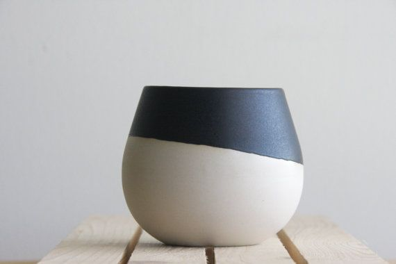 Ceramic bowl in white with black mat glaze. Great for soups and desserts.modern and urban look. on Etsy, $32.98 CAD