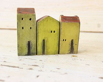 set of 5 ceramic houses in a row made in high by VesnaGusmanArt