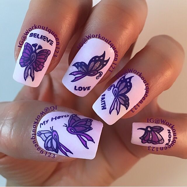 Pancreatic cancer awareness mani polishes used #chinaglaze Lotus Begin, Are you jelly, #colorclub right on, diggin the dance queen, #zoyanailpolish Hudson, Stevie, #mundodeunas violet-14 #infinity -148 #pcanovember15 . IG@workoutqueen123.