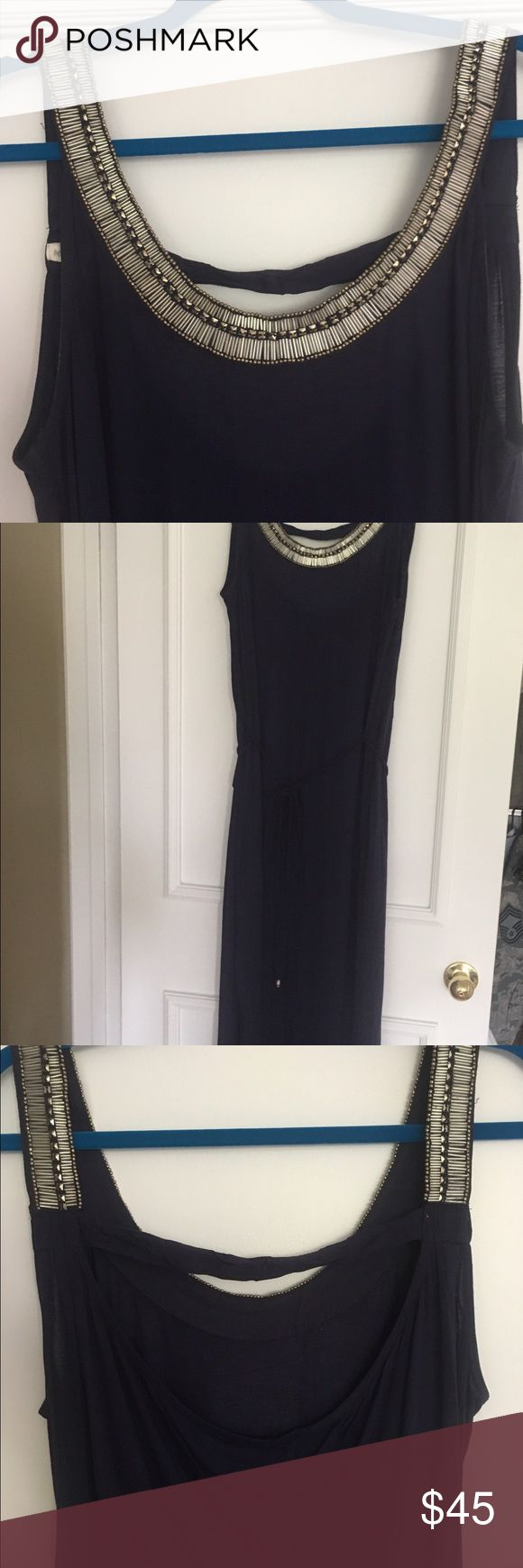 "Monsoon Grecian style maxi dress Gorgeous dark blue Grecian style maxi dress from UK brand Monsoon. Worn once so EUC. Super soft fine knit jersey with cowl back and beading around neckline. Belted and slits to the bottom. I'm 5'7"" and this hit the floor in flats (wore to a wedding in Greece) Monsoon Dresses Maxi"