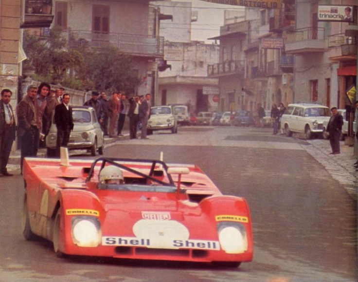 1972. Targa Florio. Arturo Merzario (and Sandro Munari) in the Ferrari 312 P-B.