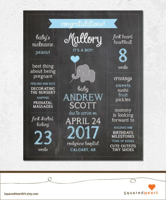 This fun and stylish elephant printable poster is perfect for your next baby shower and is sure to delight the mother-to-be / guests. Please note that this listing is for a printable PDF file that will be emailed to you, no printed or physical items will be shipped to you. All Matching Items https://www.etsy.com/shop/SquaredHeartDIY/search?search_query=Elephant+Baby+Shower+Blue+Gray+Chalkboard+Chevron+Flags ::::::::::::::::::::::::::::::::::::::::::::::::...