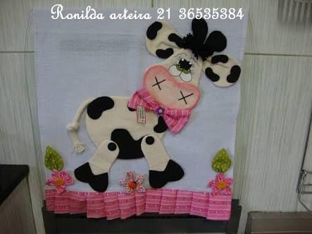 Resultado de imagem para pintura em tecido pano de prato vaca