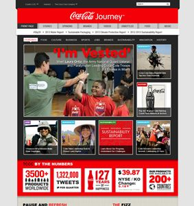Coca-Cola Journey's old design - old corp websites are dead - hello content marketing