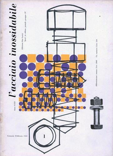 L'acciaio inossidabile, N. 1 - 1955 gennaio/febbraio. Progetto grafico di Ilio Negri (1926-1974)