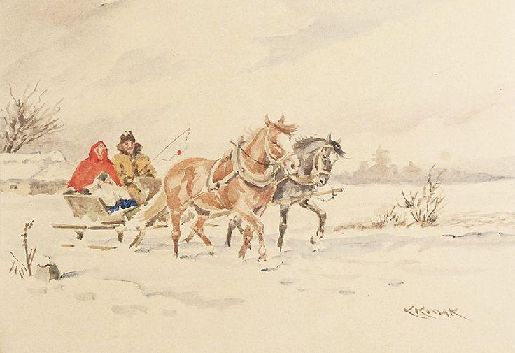 Karol KOSSAK (1895-1975)  Na saniach akwarela, papier; 28 x 40,5 cm sygn. p. d.: KKossak