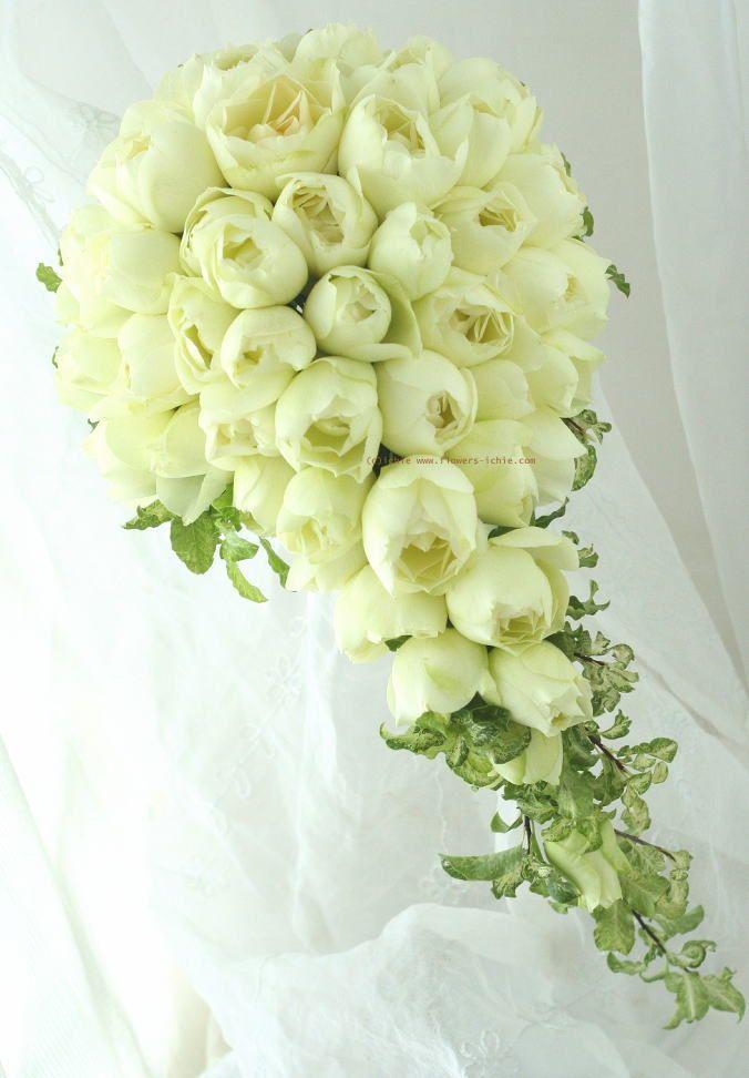 ブーケ 白 キャスケードブーケ : 一会 ウエディングの花