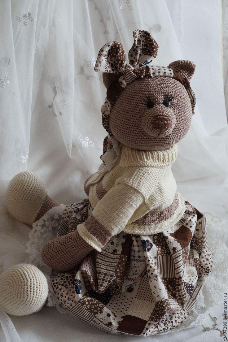 Купить Евдокия фон Медведеff, вязанная мишка из хлопка - бежевый, мишка, мишка тедди