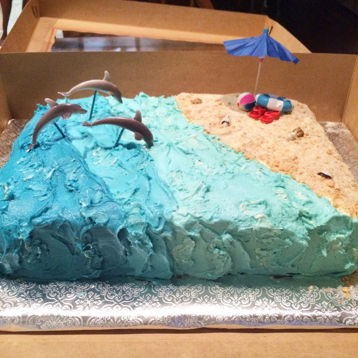 Dolphin birthday party!  Such a fun and easy cake to make.