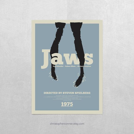 """Jaws Poster ~ 12x16"""" Jaws Movie Poster, Minimalist Movie Poster, Jaws Quint"""