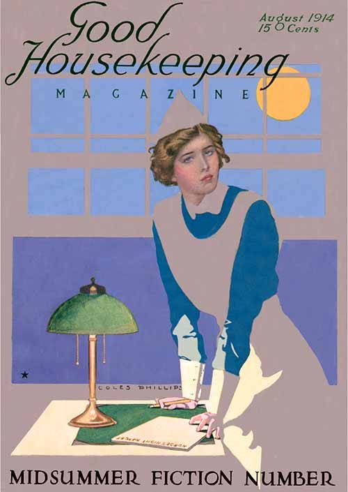 Coles Phillips - Good Housekeeping Magazine cover (August 1914) Fadeaway girl