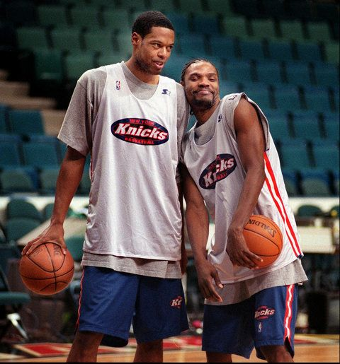 The Last Time It Was Fun to Be a Knicks Fan: New York Knicks' Marcus Camby, left, and Latrell Sprewell horse around during a shoot-around at the Miami Arena on Saturday, May 15, 1999, in Miami.