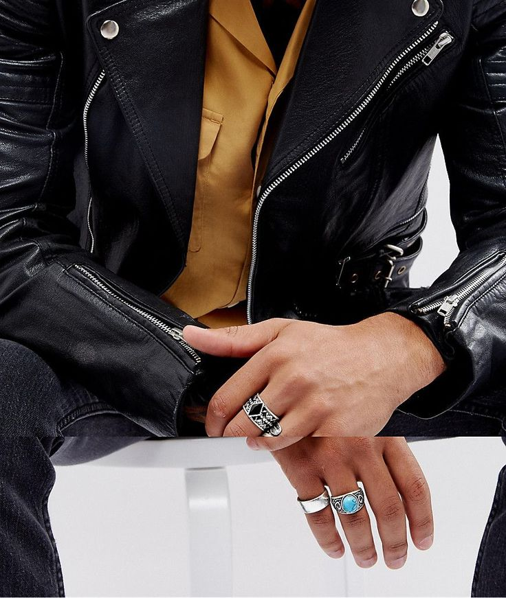 ASOS Chunky Ring Pack In Burnished Silver With Feather And Turquoise S