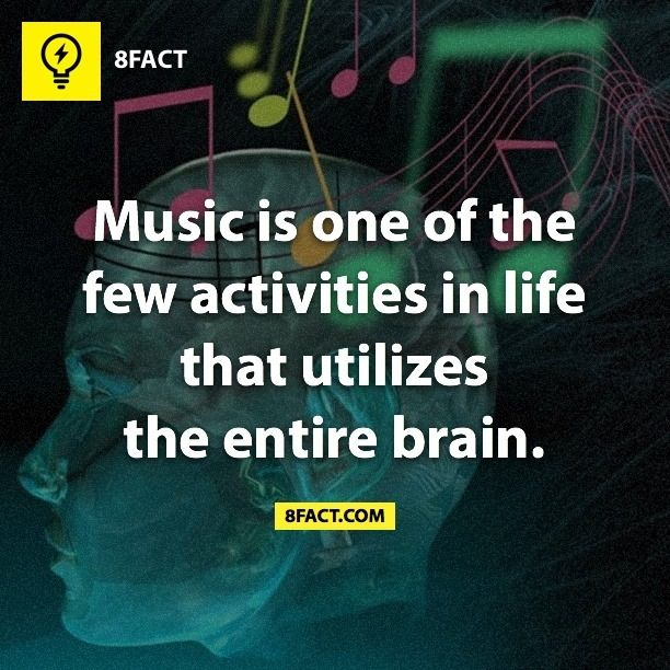 Music is one of the few activities in life that utilizes the entire brain.  Not surprising !