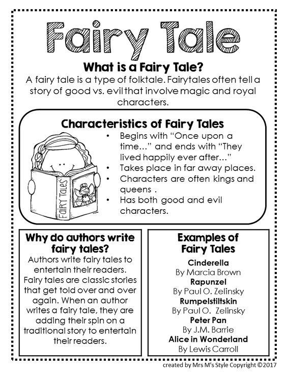 Fairy tale definition, characteristics of fairy tales, author purpose for writing fairy tales, and examples of fairy tales. love this as an anchor chart template or as an interactive notebook page