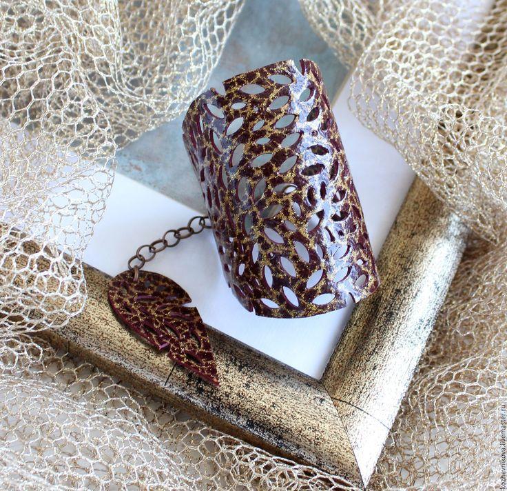 Купить Кожный браслет Золотые искры - коричневый, Елена Кожевникова, кожаный браслет, браслет кожаный