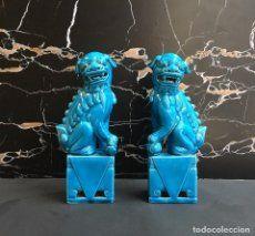 Pareja de Leones Foo (Perros Foo) de 20 cm - porcelana China - Foo Lions
