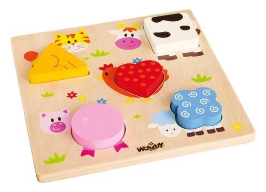 Nejjednodušší forma puzzle-skládaček pro nejmenší. Děti vkládají tvary-těla zvířátek do předem určených otvorů podle tvaru a barvy.