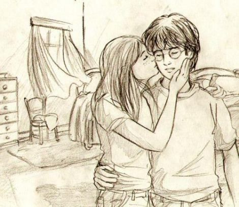 Fan Art of so sweet for fans of Harry and Ginny.