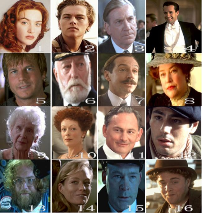 Titanic Movie Cast   Characters pictured from Titanic Quiz by happy101 - Sporcle Games ...