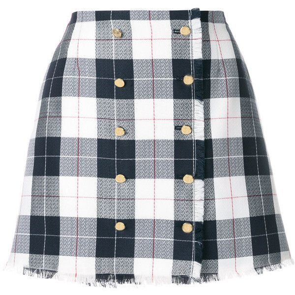 Thom Browne Blend Wool Checked Skirt (11,940 GTQ) ❤ liked on Polyvore featuring skirts, mini skirts, grey, gray skirt, wool skirt, checkerboard skirt, grey skirt and thom browne