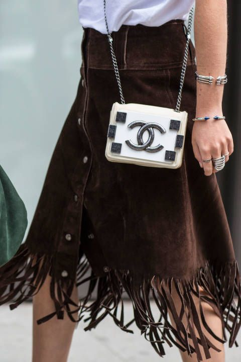 You can never go wrong with Chanel - but I'm loving the suede fringe skirt!