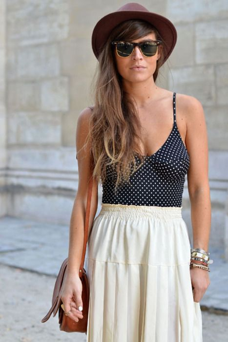 bathing suit and maxi skirt: Hats, Fashion, Polka Dots, Summer Looks, Clothing, Summer Style, Summer Outfits, Hair, Maxi Skirts