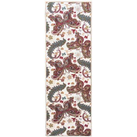 Sweet Home Stores Sweet Home Collection Butterfly Design Cream Indoor and Kitchen Runner Rug, Beige